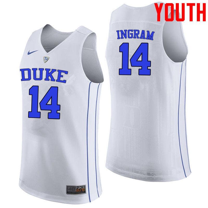 Youth #14 Brandon Ingram Duke Blue Devils College Basketball Jerseys-White